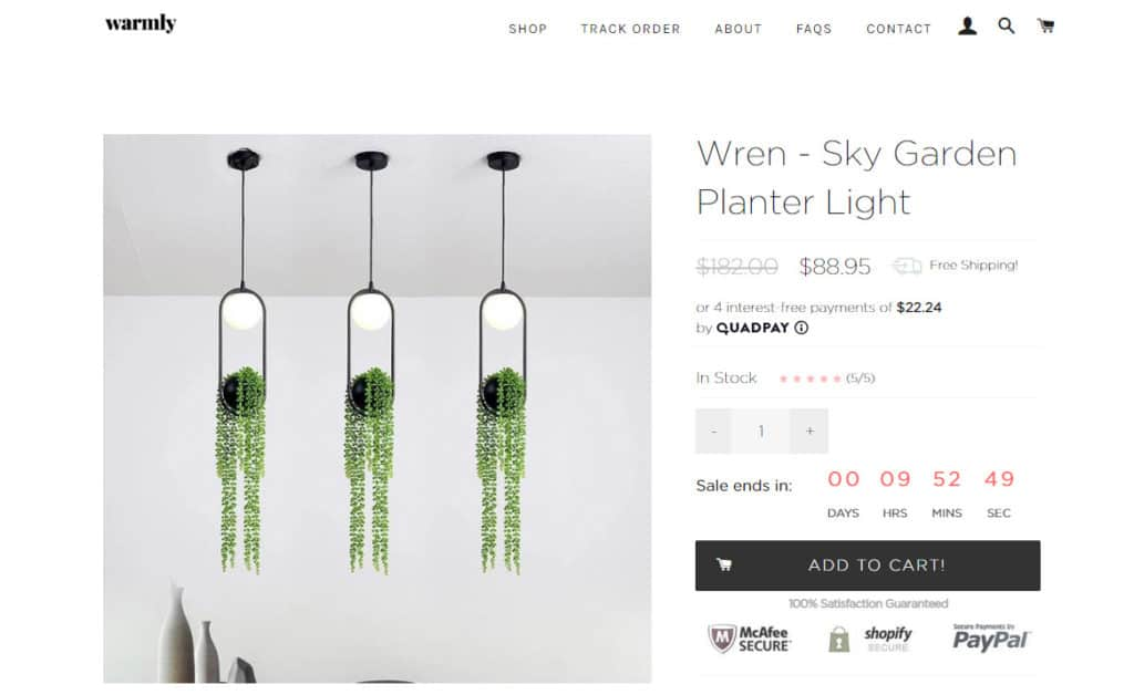 The planter lights in the Warmly Store.